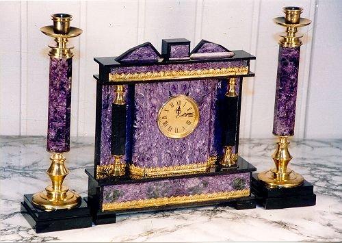 Charoite table clock