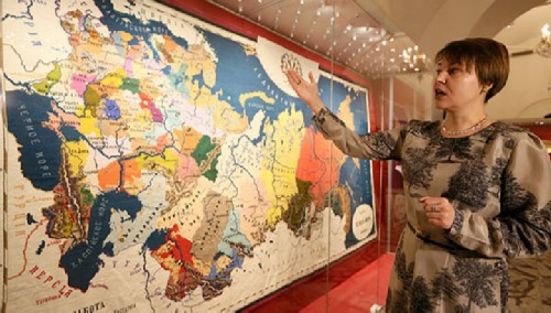 Cross-Stitched map accurately conveys the geography of the second half of the XIX century.