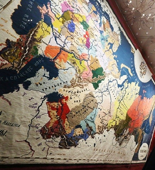 Embroidered map of the Russian Empire created by pupils of the Moscow Institute for Noble Maidens of Order of Saint Catherine in 1872