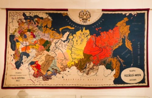 Embroidered map of the Russian Empire, created by pupils of the Moscow Institute for Noble Maidens of Order of Saint Catherine in 1872