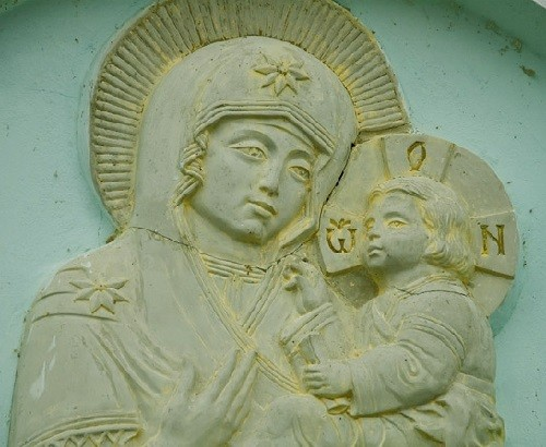 On the south wall of the Cathedral - the Mother of God depicted in stone