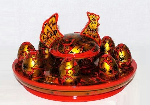Russian folk arts Golden Khokhloma