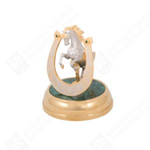Souvenir Horseshoe with a horse For luck (malachite)