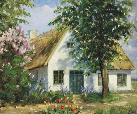 House in the garden. Russian artist Grand Duchess Olga Romanova