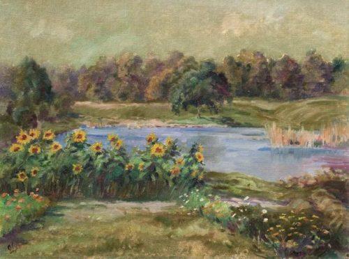 Russian artist Grand Duchess Olga Romanova. Sunflowers by the pond