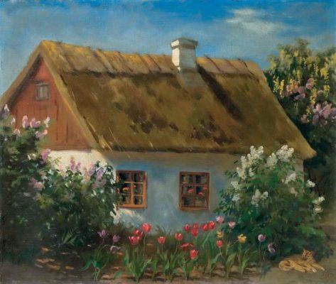 Lilacs at home. Russian artist Grand Duchess Olga Romanova