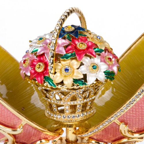The Spring Flowers egg was exhibited twice as the Imperial Easter Egg at the Metropolitan Museum of Art in New York, in 1961 and 1996, and at the Victoria and Albert Museum in 1977.