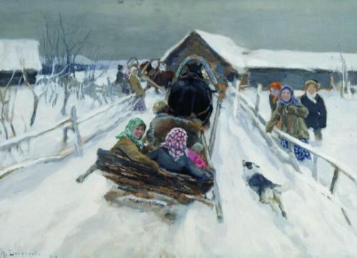 Russian spring festival Maslenitsa. Alexey Stepanov-Riding on Maslenitsa, 1910