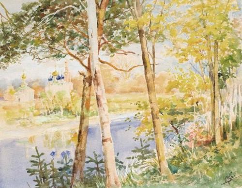 Autumn landscape with a church, 1940s
