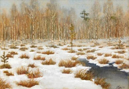 Birch trees in winter, 1923