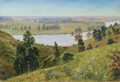 Blooming landscape, 1940s canvas, oil