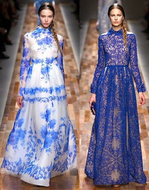 Collection with Gzhel motifs from Valentino, Fall-Winter 2013-2014 Ready-to-Wear