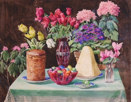 Easter still life. 1930s watercolors