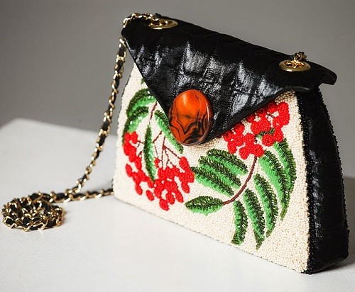 Evening Bag 'Rowan' in the style a la rus, embroidered with beads