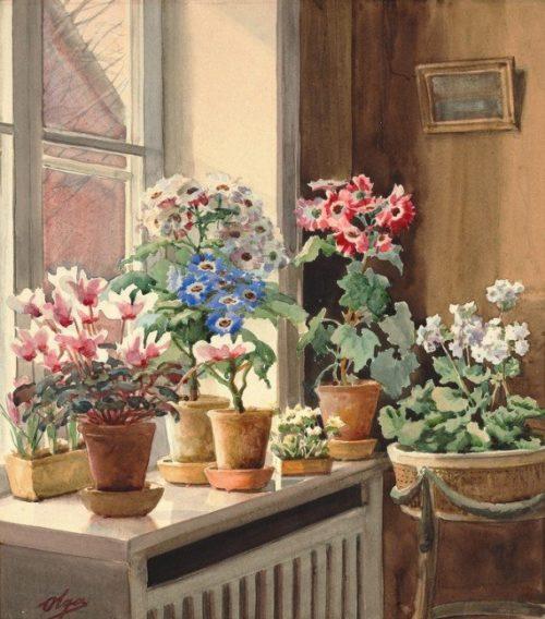 Russian artist Grand Duchess Olga Romanova. Flowers on the window, 1930s