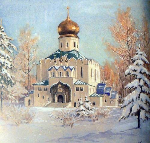 Fyodorovsky Sovereign's Cathedral in Tsarskoye Selo in winter, 1917