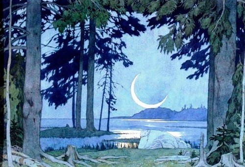 I. Bilibin. Night on the shores of Lake Ilmen. Set Design for the second part of the opera by Rimsky-Korsakov 'Sadko'. 1914