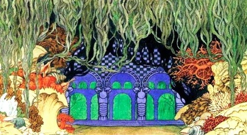 I. Bilibin. Underwater kingdom. Design for the sixth film of the opera by NA Rimsky-Korsakov 'Sadko'. 1914