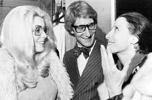 Maya Plisetskaya with actress Catherine Deneuve and designer Yves Saint Laurent