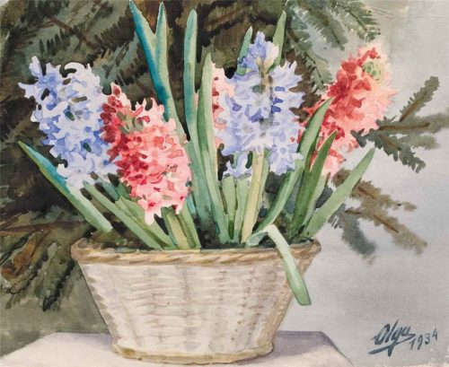 New Year's hyacinths, 1934, watercolor on paper;
