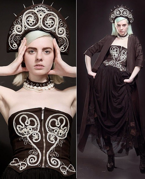 Russian queen, the work of the designer Nadezhda Madaminova. Evening ensemble a la rus, made in the Russian style combined with a modern vision of the suit