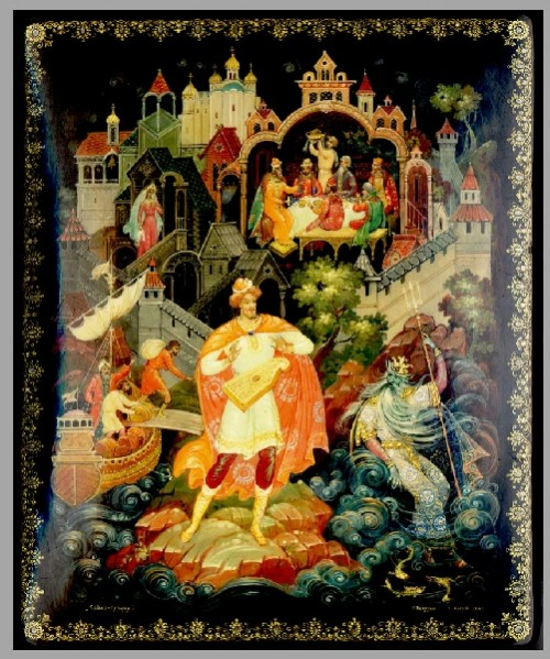 Russian medieval epic Sadko. Sadko in Palekh lacquer miniature