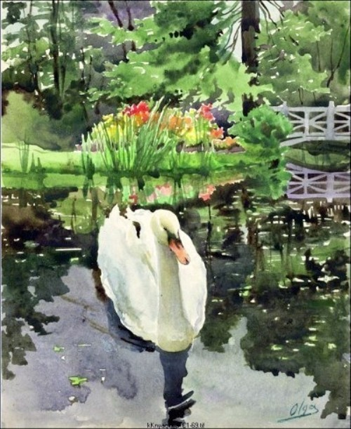 Watercolor painting by Russian artist Grand Duchess Olga Romanova