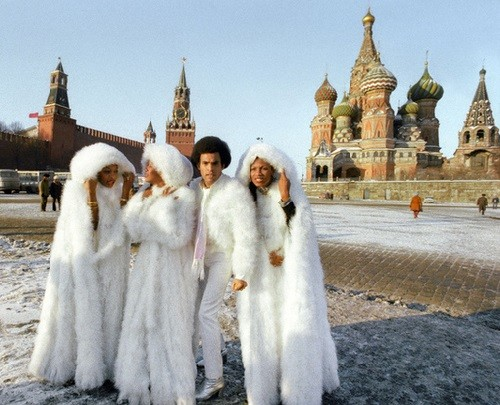 Celebrities visiting Red Square. Boney M, 1978