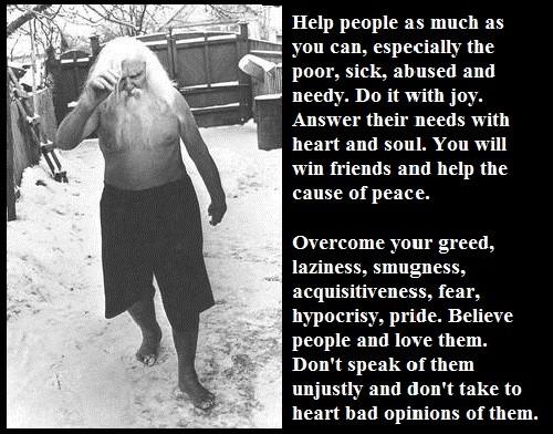 'Detka' - twelve commandments by Russian mystic Porfiry Ivanov