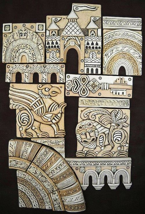 Ceramic panel based on the white stone carving of Vladimir-Suzdal architecture of the 12th-13th centuries