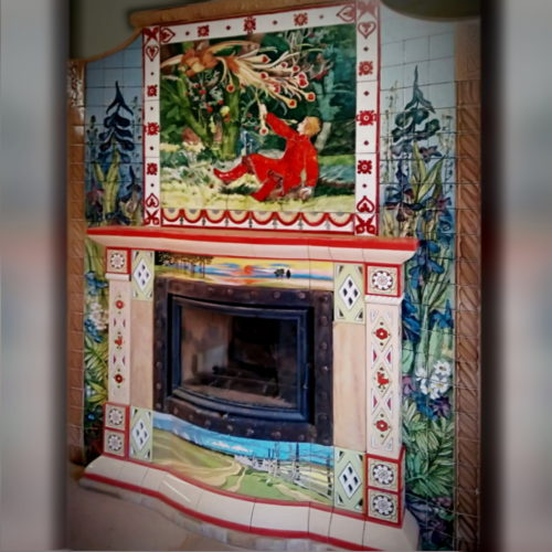 Bright tiled fireplace in the spirit of Russian fairy tales with framing panels made according to illustrations by I. Bilibin