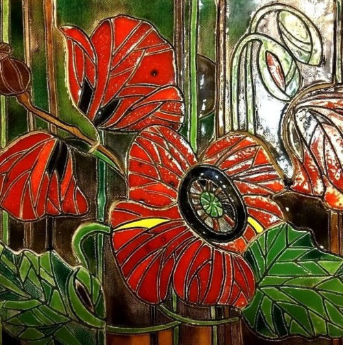 Wonderful ceramic panel with poppies, made using the large-format mosaic technique