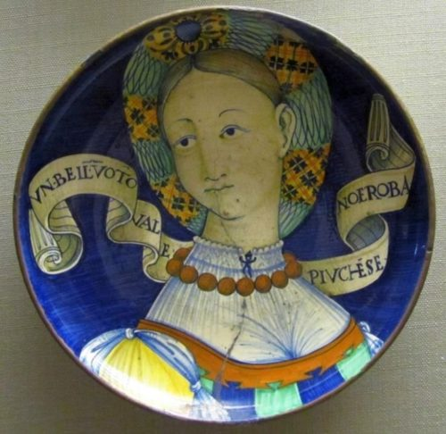 Majolica plate from Castel Durante with Bella Donna storyline
