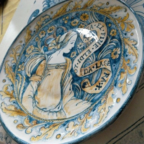 Majolica earthenware plate inspired by the medieval majolica miniatures by Renaissance ceramists