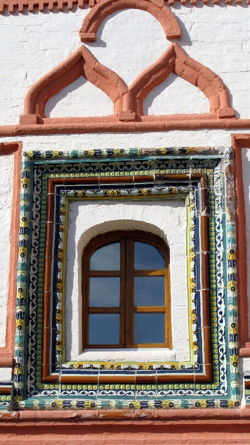 Russian maiolica. Decorated with maiolica window frame, Iversky monastery. Novgorod region, Valdai, XVII century
