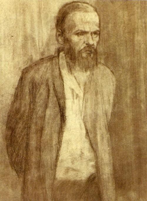 V. Domogatsky. 'Dostoevsky convict'. 1956. Charcoal on paper