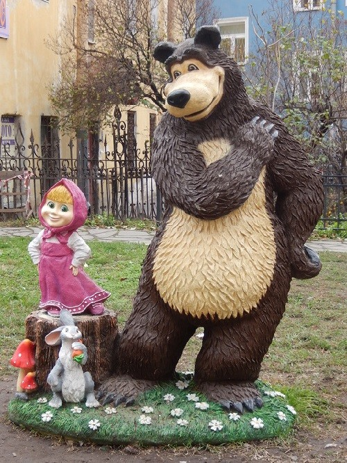 Monuments to Bear in Russia. Monument to cartoon characters' Masha and the Bear'. Close to 18 A Narva Avenue, St. Peturburg
