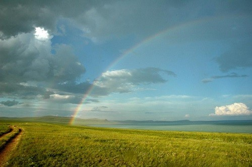 Daurian Steppe greatness. Rainbow over the Daurian steppe