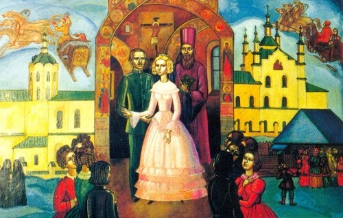 Wedding of Dostoevsky in Kuznetsk. Painting by AF Fomchenko. Novokuznetsk, 1993. Canvas, egg tempera