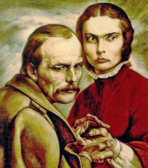 Painting in the museum of Dostoyevsky in Novokuznetsk. Fyodor Dostoyevsky and Maria Isayeva