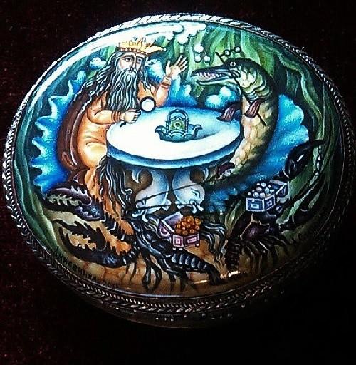 Neptune in the sea kingdom casket. At the exhibition of enamel art. Museum of finift (enamel) in the Rostov Kremlin