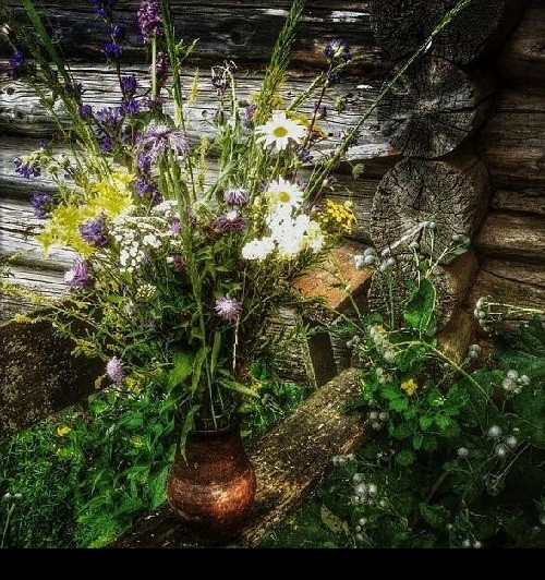 Wild flowers still life painting created in the Rostov Kremlin