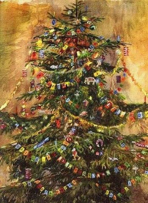 Christmas Tree in painting