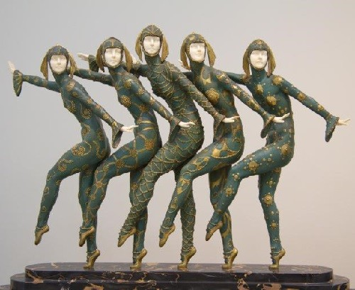 'Les Girls' Inspired by 'Russian seasons' ballet sculpture by Demetre Chiparus