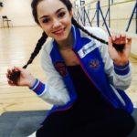 Russian figure skater Evgenia Medvedeva (born 19 November 1999), the 2015 World Junior champion and the 2014–15 Junior Grand Prix Final champion
