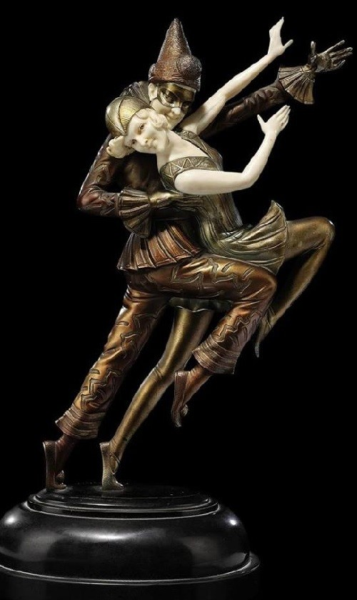 Sculpture by Otto Poertzel (1876-1963) - Columbine and Harlequin, circa 1925