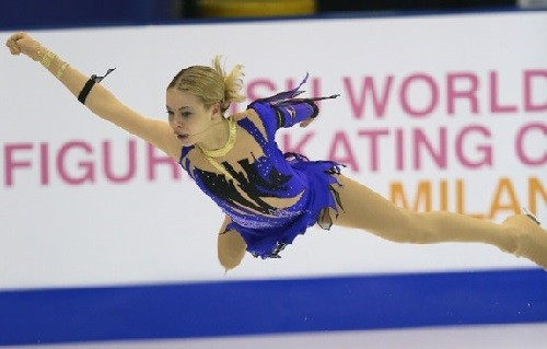 Flying over the ice Russian figure skater Anna Pogorilaya