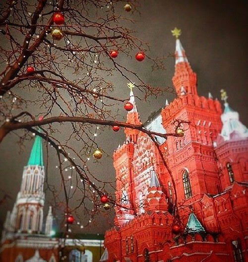 In the space of a winter heat, the trees bloom bright (poem). Beautiful view from Red Square