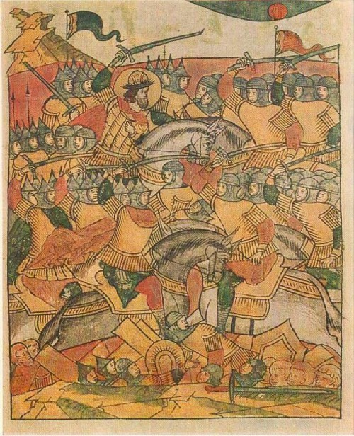 Battle between the army of Alexander Nevsky and the Livonian knights on the ice-bound Chudskoye Lake. 17th-century manuscript