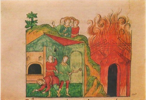 Burning village: scene from the time of the Tartar invasion. 17th-century manuscript